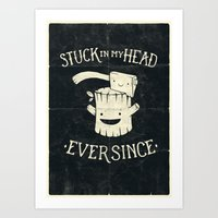 Stuck in my head Art Print