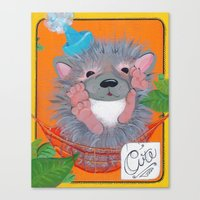 Hedgehog Party Canvas Print