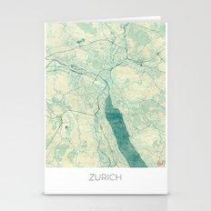Zurich Map Blue Vintage Stationery Cards