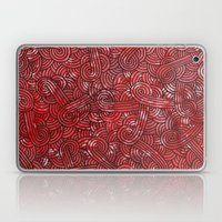 Red and black swirls doodles Laptop & iPad Skin