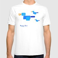 Happy Bird-Blue Mens Fitted Tee White SMALL