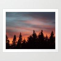 Watercolor Sunset Art Print