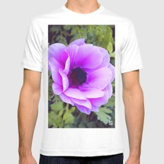 Pink Poppy Anemone I White Mens Fitted Tee SMALL