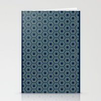 Hexagon Pattern In Blue Stationery Cards