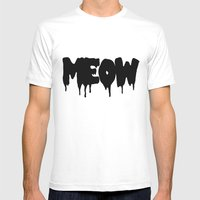 Meow Mens Fitted Tee White SMALL