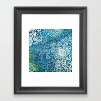 Swirly Deep Blue Sea Framed Art Print