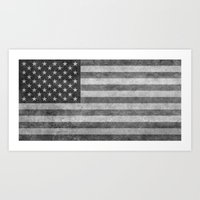 American Flag - Retro St… Art Print