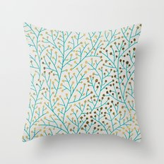 Berry Branches – Turquoise & Gold Throw Pillow