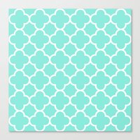 MOROCCAN {TEAL & WHITE} Canvas Print
