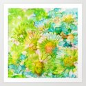 camomile and watercolors Art Print