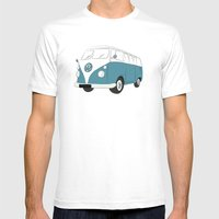 VW Camper Van Mens Fitted Tee White SMALL