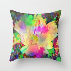 Sun Drenched Tropical Flower Throw Pillow