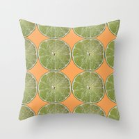 Lime Fruit Photo Print Throw Pillow