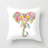 Flower Elephant Watercolor Throw Pillow