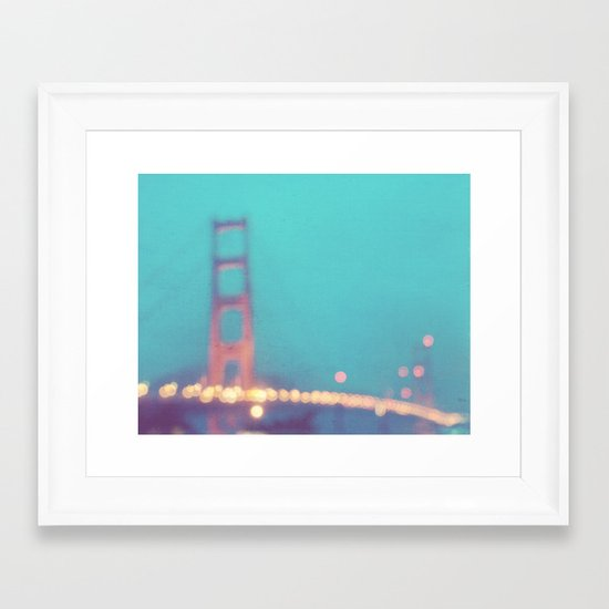 la nuit. San Francisco Golden Gate Bridge photograph Framed Art Print