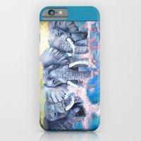 Elephants in crashing waves iPhone 6 Slim Case