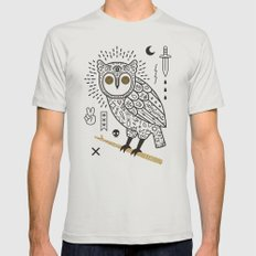 Hypno Owl Mens Fitted Tee Silver MEDIUM