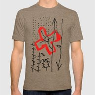 DRAWING/CUT-OUT Mens Fitted Tee Tri-Coffee SMALL