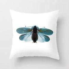 Blue Moth Throw Pillow