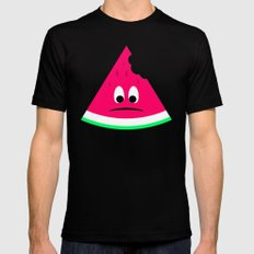 Cute sad bitten piece of watermelon SMALL Black Mens Fitted Tee