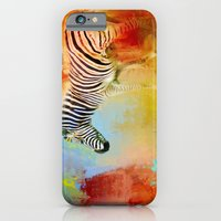 iPhone Cases featuring Colorful Expressions Zebra by Jai Johnson