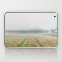 Dense fog over a stubble field at dawn. Norfolk, UK. Laptop & iPad Skin