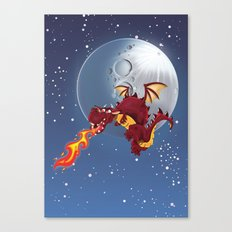Dragon breathing fire by the Moon. Canvas Print
