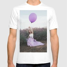 Balloon girl and lavender Mens Fitted Tee White SMALL