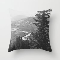 River through the Mountains Throw Pillow