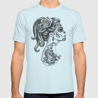 Day Of The Dead Girl Mens Fitted Tee Light Blue SMALL