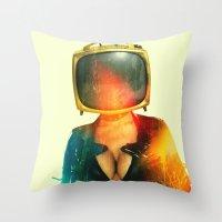 SEX ON TV - GOLDEN PUSSYCAT by ZZGLAM Throw Pillow