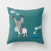 THE DONKEY & THE HOLE Throw Pillow