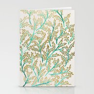 Green & Gold Branches Stationery Cards