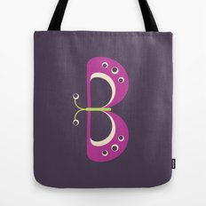Letter B // Animal Alphabet // Butterfly Tote Bag