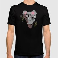 Kawaii Koalas Mother And… Mens Fitted Tee Black SMALL