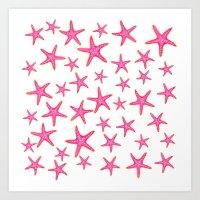 Summer pink neon watercolor gold starfish pattern Art Print