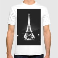 Paris Black & White Mens Fitted Tee White SMALL
