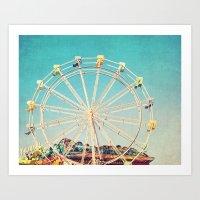 Boardwalk Ferris Wheel Art Print