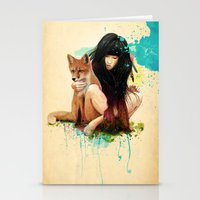 fox Stationery Cards featuring Fox Love by Ariana Perez