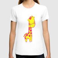 Baby Giraffe Womens Fitted Tee White SMALL