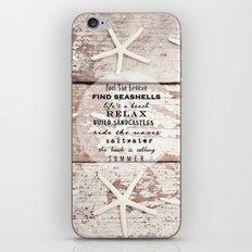 starfish on wood iPhone & iPod Skin