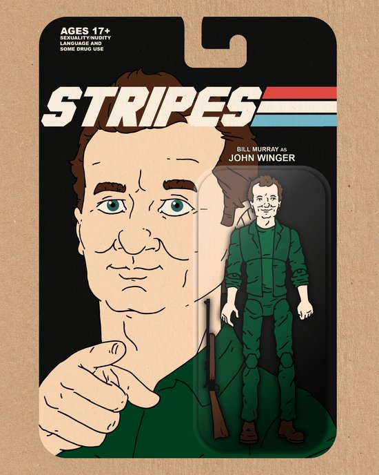 Stripes Action Figure Art Print