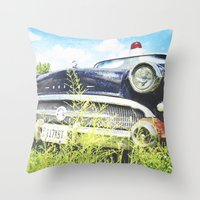 Cherries and Berries {Historic Cop Car} 1950's Buick  Throw Pillow