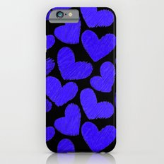 Sketchy hearts in dark blue and black iPhone 6s Slim Case