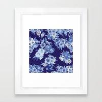 Floral pattern in Indigo Framed Art Print
