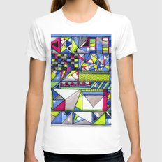 Neon Textures Womens Fitted Tee White SMALL
