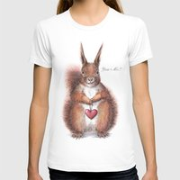 Squirrel heart love Womens Fitted Tee White SMALL