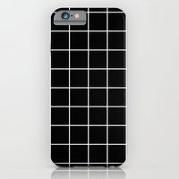 iPhone Cases featuring Black Grid  by Sara Eshak