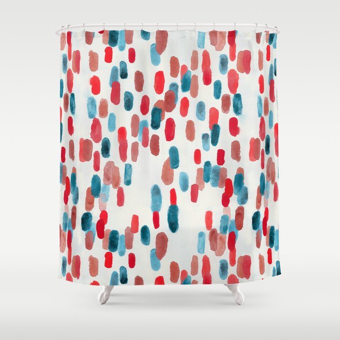 Watercolor Ovals Red Blue Cream Shower Curtain By TigaTiga Artworks