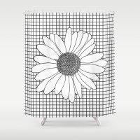Daisy Grid Shower Curtain